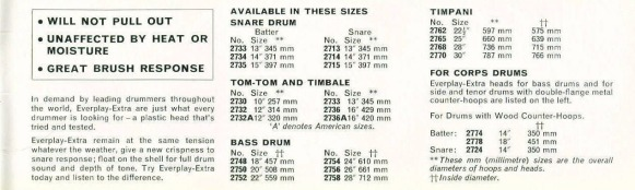 Everplay drum head sizes 1966